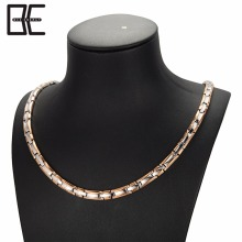 Bio Energy Men Women Silver Rose Gold Chain Titanium Magnetic Metal Germanium Necklace Jewelry