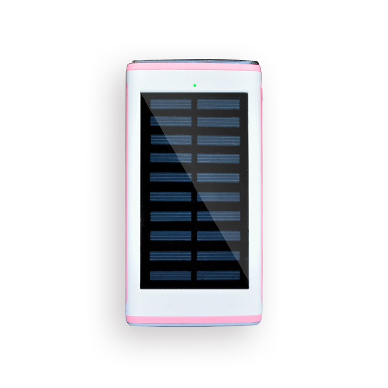 Wholesale colorful solar powerbank, 12000mah power bank with flashlight, with three usb port power supply