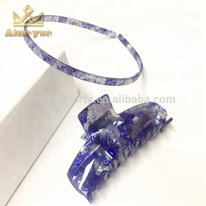 Beautiful Bridal Personalize Cellulose Acetate Hair Accessories Girls Blue Hairbands and Hair Claws