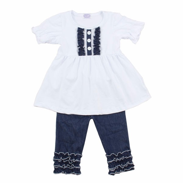 wholesale kids clothing set baby girl cotton ruffle outfits white tunic sets with denim capri