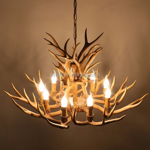 Hot sale American Village Retro style hotel decoration resin antlers chandeliers
