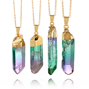 Source manufacturer popular women natural rough stone crystal necklace