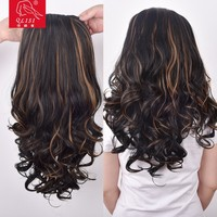 synthetic extension curly cheap hair extensions clip in full head set
