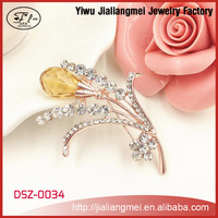 Fashion Yellow Crystal Gold Plated Flower Corsage Brooch