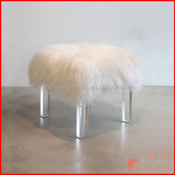 blanc naturel de fourrure d 39 agneau mogolian tabouret avec lucite jambes tabourets et bancs id de. Black Bedroom Furniture Sets. Home Design Ideas