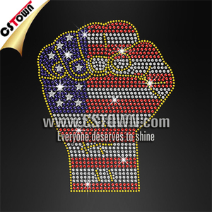 America fighting fist with gold fringe rhinestones customised iron on transfers