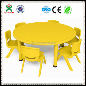 Round shape kids study table chair(QX-194D)/kids reading table and chairs/study table for kids