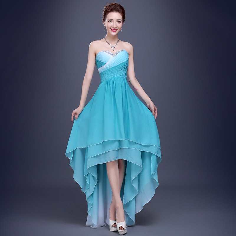 2016 Spring New Elegant Boob Tube Top Short Front Long Back Evening Prom Dress