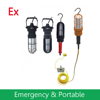 Explosion Proof LED Drop Light for C1D1 Hazardous Areas with Extension Cord or Emergency Driver - Chemical Resistant