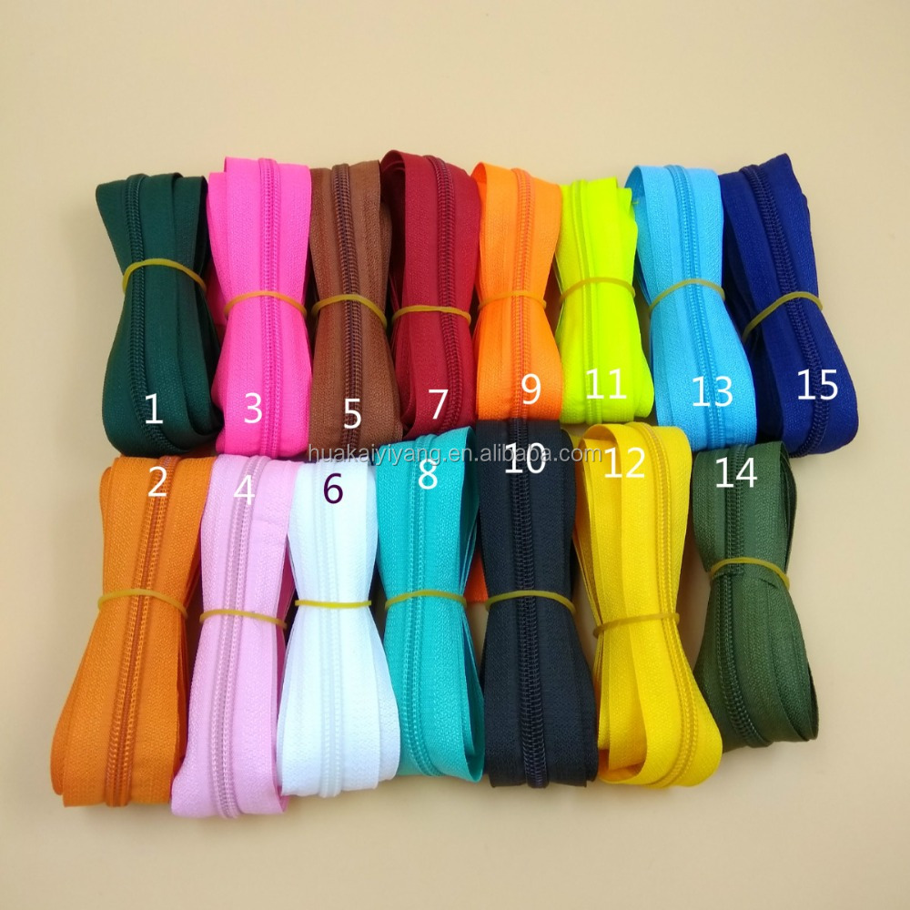5# Unfinished Close End Colorful Plastic Nylon Zipper 5 Yards Handmade DIY Tailor Sewing Craft Bags Luggage Clothes Accessories