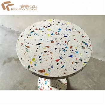 White / Blue / Red Glass Chips Press Terrazzo Table Top