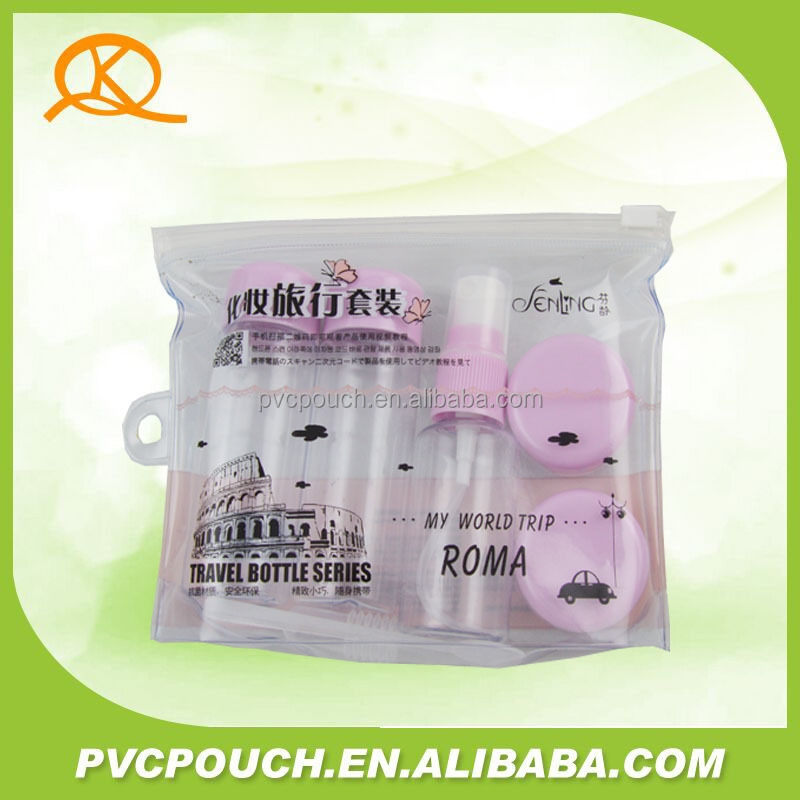 Travel bottle EVA PVC plastic cosmetic zipper plastic pouch