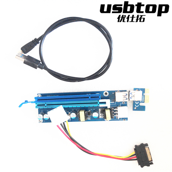 006s 0.6M PCIe PCI-E 1x to 16x PCI Express Riser Card + USB 3.0 Cable / SATA to 4Pin Molex Power Cord for BTC Miner Machine