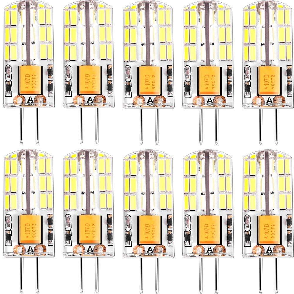 Led Bulbs G4 3Watt (20W Halogen Bulb Led Replacement) Non-Dimmable G4 Capsule Led Light Bulb AC/DC 12V Low Voltage Landsape Lighting 10 Pack