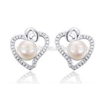 Natural pearl stud girl heart earrings (PES8-45)