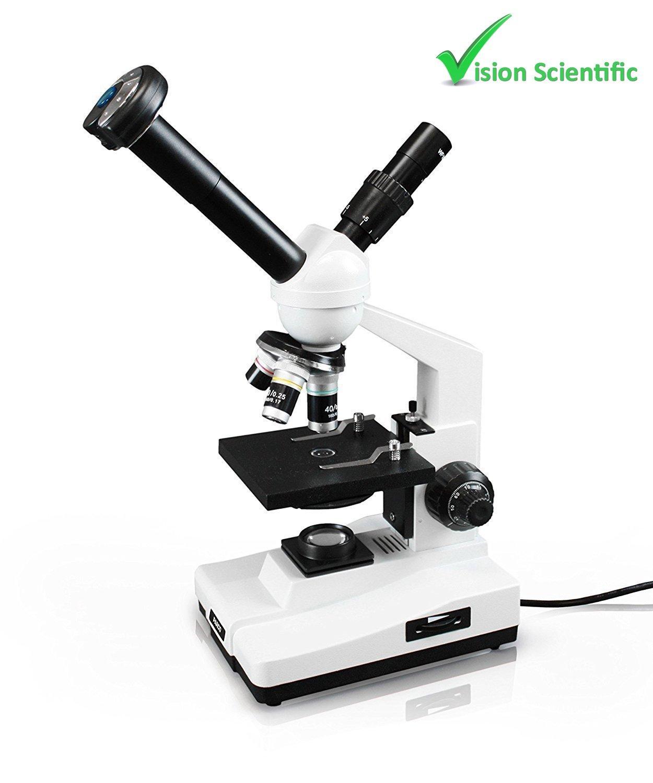 Vision Scientific VME0007-T-LD-DG1.3-E2 Dual View Compound Microscope, 10x WF & 20x WF Eyepieces, 40x-800x Magnification, LED Illumination, Coaxial Coarse & Fine Focus,1.3MP Digital Eyepiece Camera