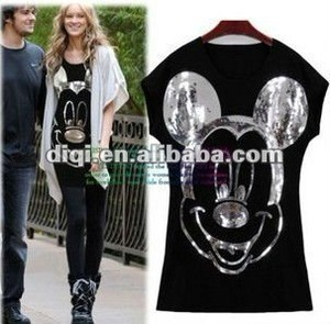 2012 fashion ladies t shirt/ blouse/ loose wowem t-shirt/ printing t shirt(OEM)