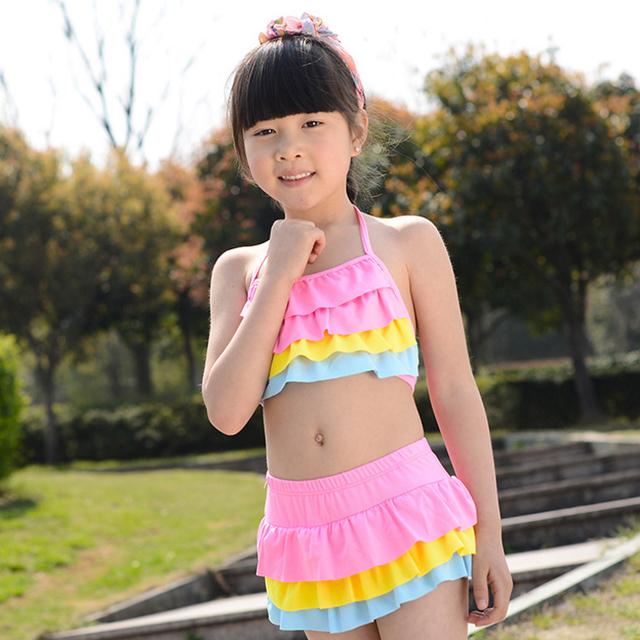 b52d38d868 swimsuit kids girl swim ruffle child bikini girl bikini swimwear two pieces  Swimsuits separate bathing suit