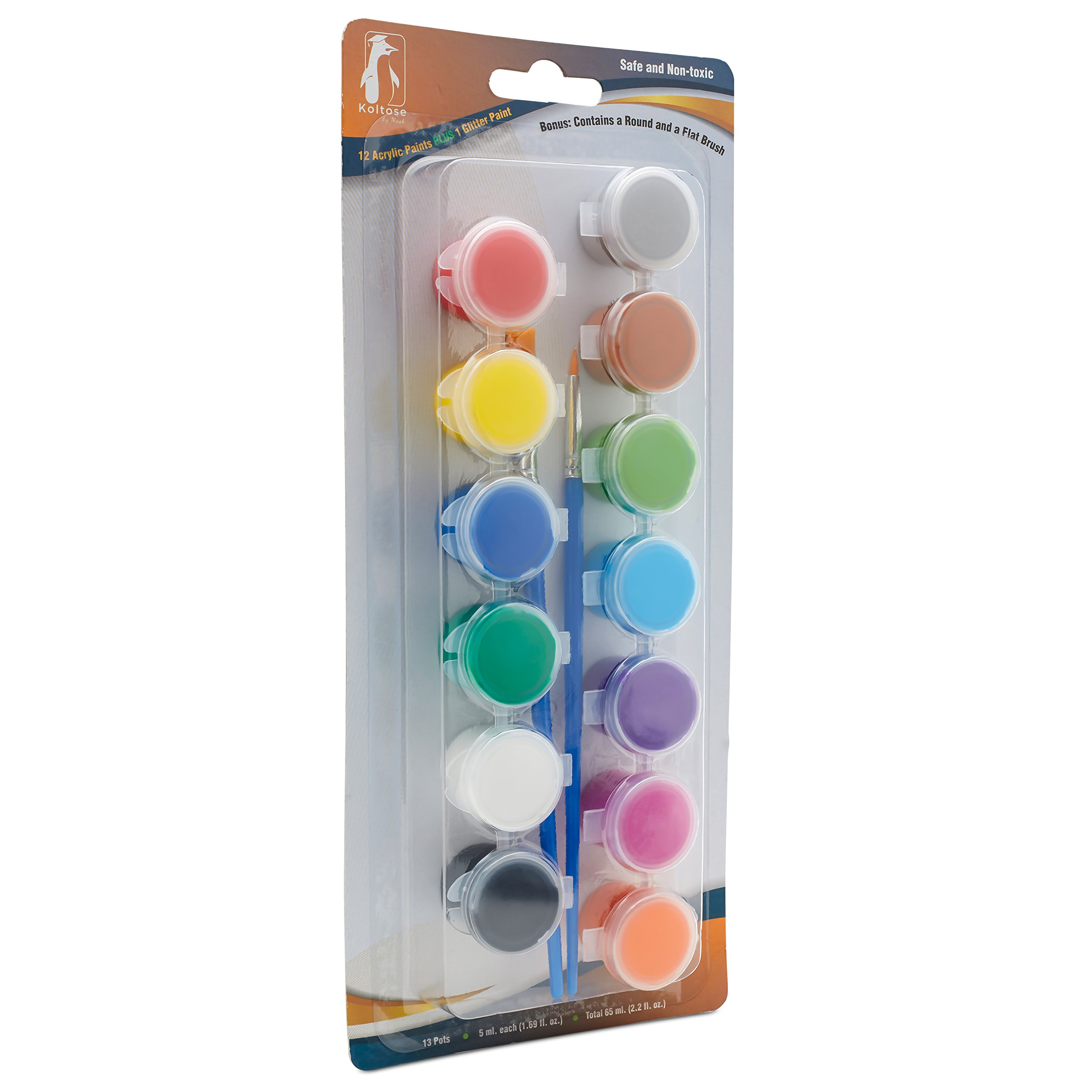 Acrylic Paint Pots Set, 12 Colored Paint Strip Plus 1 Glitter Paint Pot 1 Flat Brush and 1 Round Brush (13 Paints, 2 Brushes Total) Arts and Crafts Painting Supplies Kit. 3 Pack