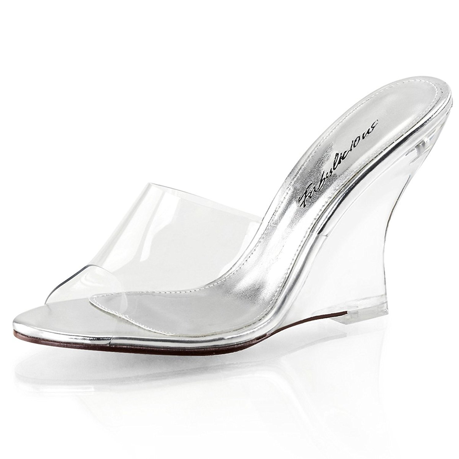 edfbb02766 Get Quotations · Summitfashions Womens Slip on Shoes Clear Slides 4 Inch Heel  Wedges Sandals Clear Strap Heel