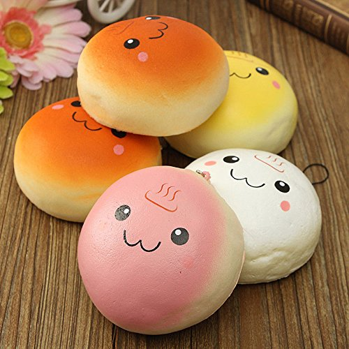 Giveme5 Pack of 2 Jumbo Smile Marshmallow Bread Bun Squishy Expression Toys Cell Phone Charms Key Chains Bag Strap Pendants 10cm - (Color Random)