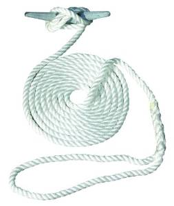 Invincible Marine 15-Foot Hand Spliced Nylon Dock Line, 1/2-Inches by 15-Feet, White