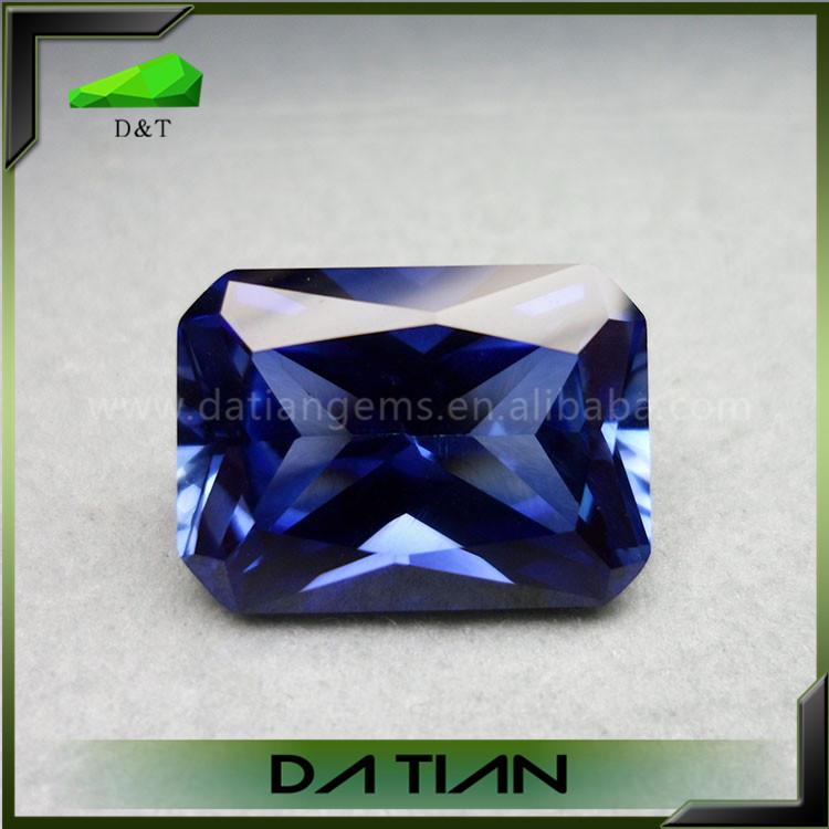 wholesale rectangle cut synthetic kashmir blue sapphire price