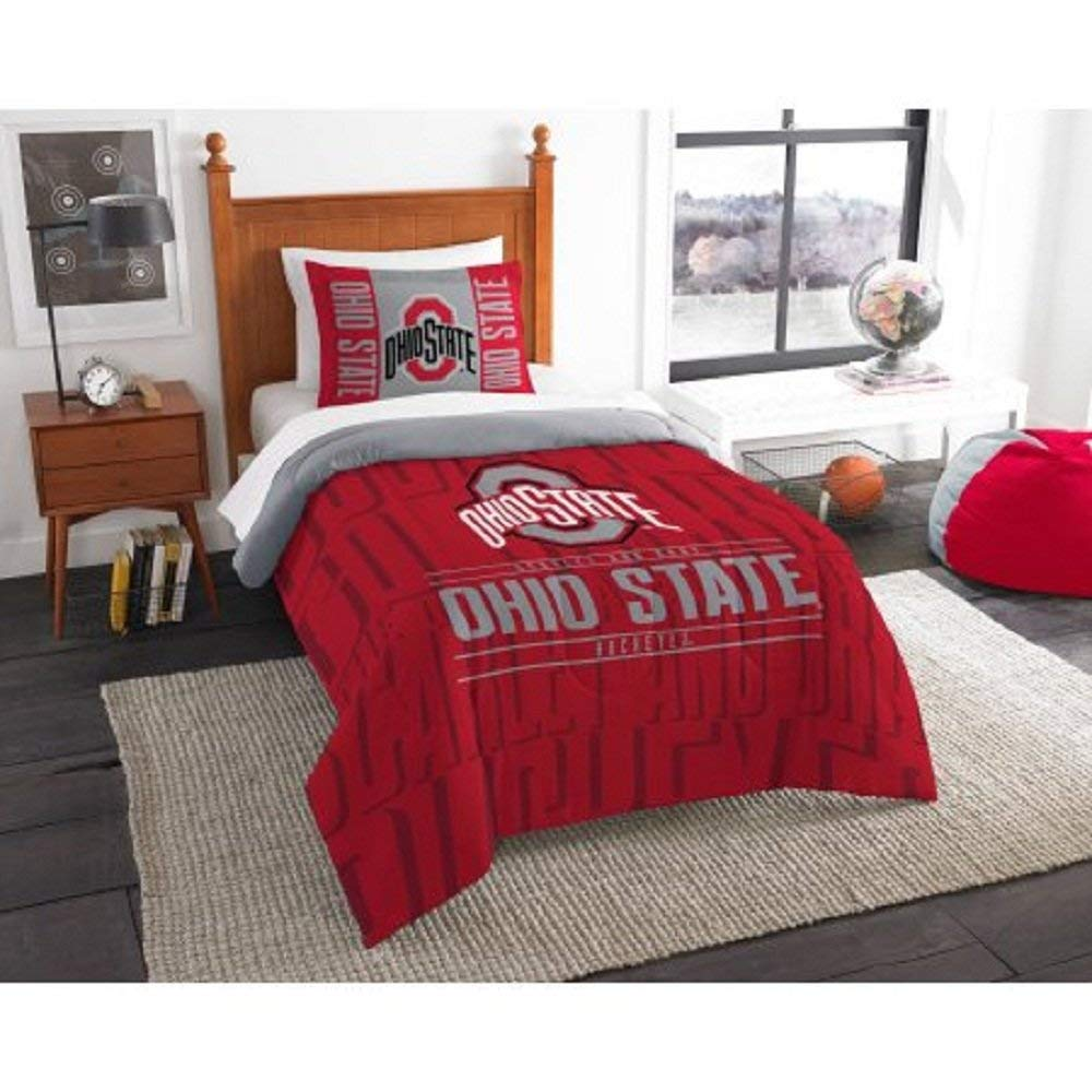 2 Piece NCAA Ohio State University Buckeyes Comforter Twin Set, Sports Patterned Bedding, Featuring Team Logo, Fan Merchandise, Team Spirit, College Football Themed, Red Multi, For Unisex