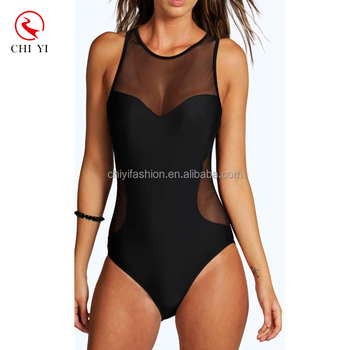 d61391a334c85 Custom Design Mexico Mesh Sexy One-piece Transparent Swimwear Sexy Girl  Black Bathing Suit