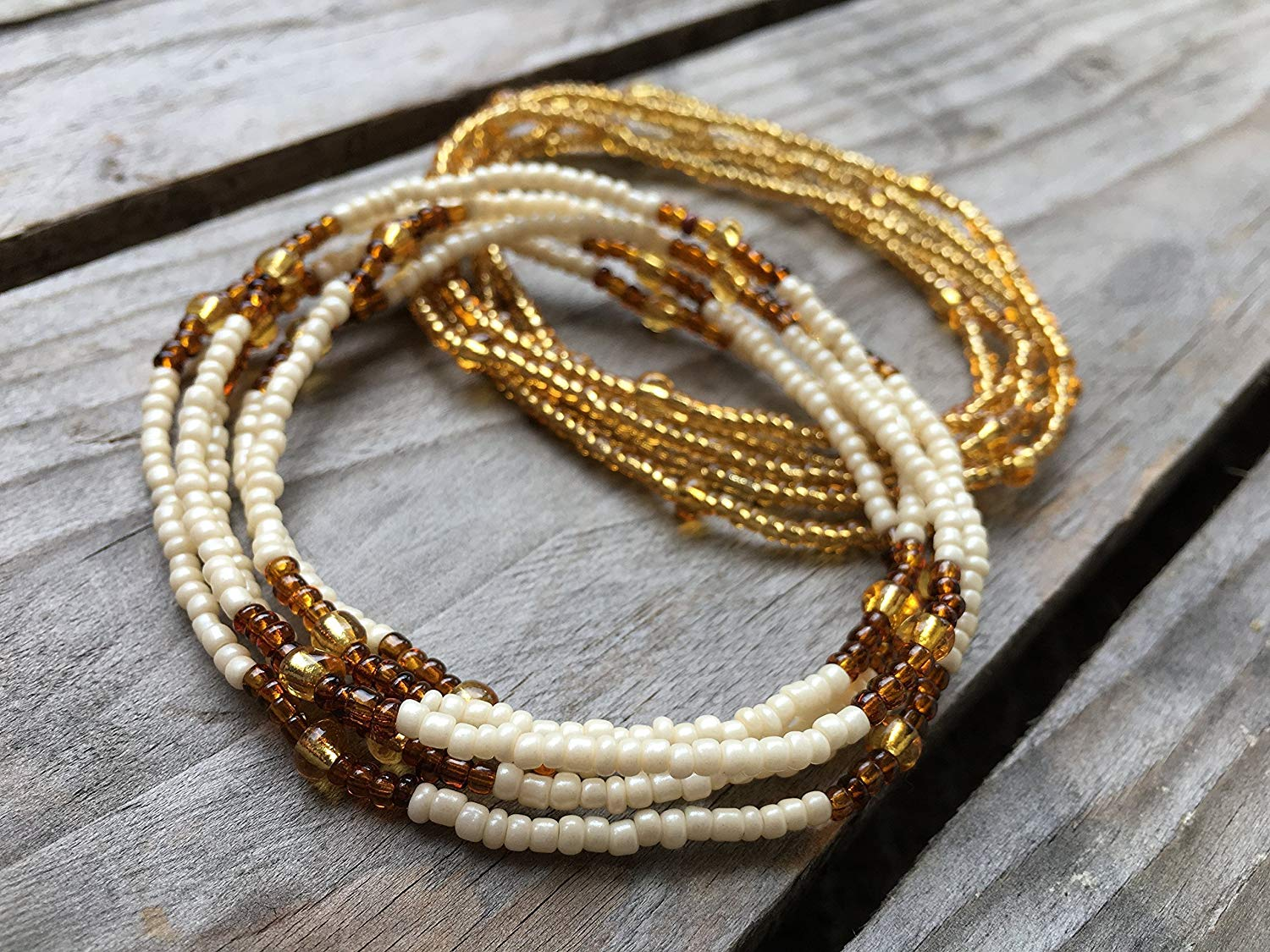 Handmade Waist Beads, 2 pcs Belly Bead Set, Belly Chain, Ivory Brown and Gold Waist Beads, Body Jewelry, African Waist bead, Waist chain, Stretchy Elastic String, Wear as Necklace Bracelet or Anklet