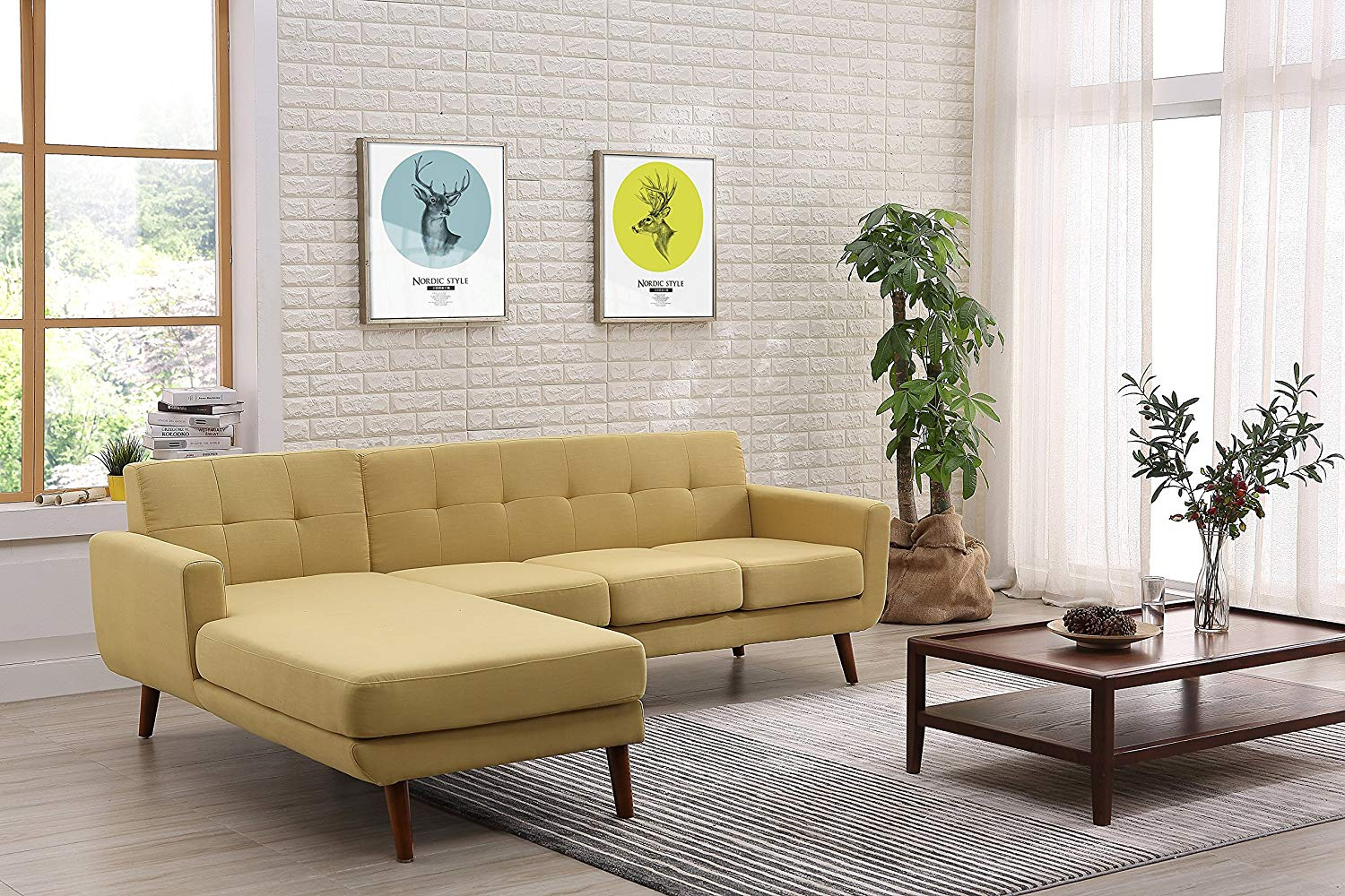 """Container Furniture Direct S0122L-2PC Andy Linen Upholstered Midcentury Modern Left-Sided Sectional Sofa, 69.29"""", Naples Yellow"""