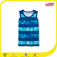 kids swim jersey tank top gym stripe vest with palm tree