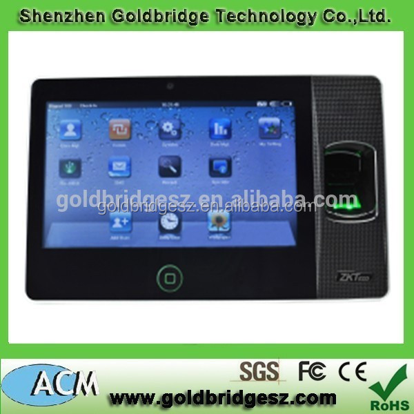 Biopad100 7 inch touch screen TFT biometric fingerprint time attendance machine with camera
