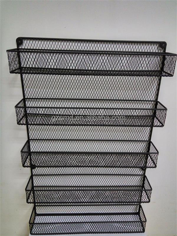 Manufacture Restaurant Kitchen Cabinet Pantry Metal Wire Mesh 3 4 5 Tiers Shelf Wall Mounted Spice Rack Organizer