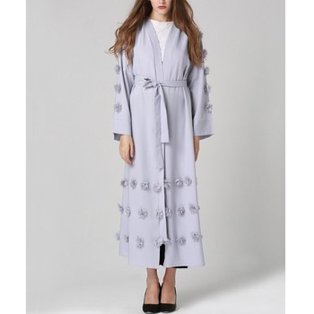 YSMARKET Turkey Muslim Women Long Tops Outerwear Ethnic Clothes Islamic For Woman Robe Flowers Cardigan Maxi Coat E7009