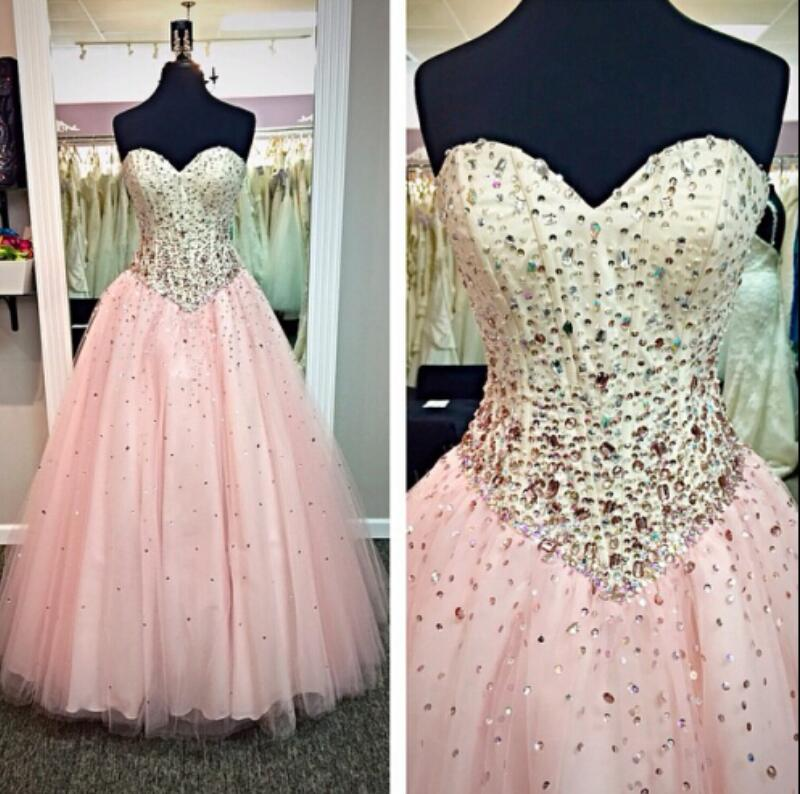 4c71879c2ab9 Cecelle 2016 Pink Glitter Long Tulle Beaded Crystals Ball Gown Prom Dresses  Sweetheart Corset Back Cheap Party Gowns Formal Wear