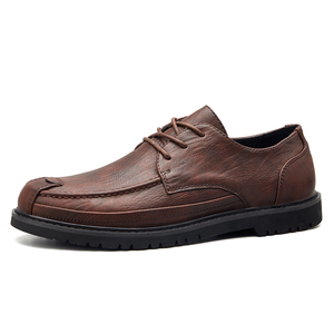 Autumn and winter new men's leather retro casual classic small shoes comfortable breathable casual dress shoes