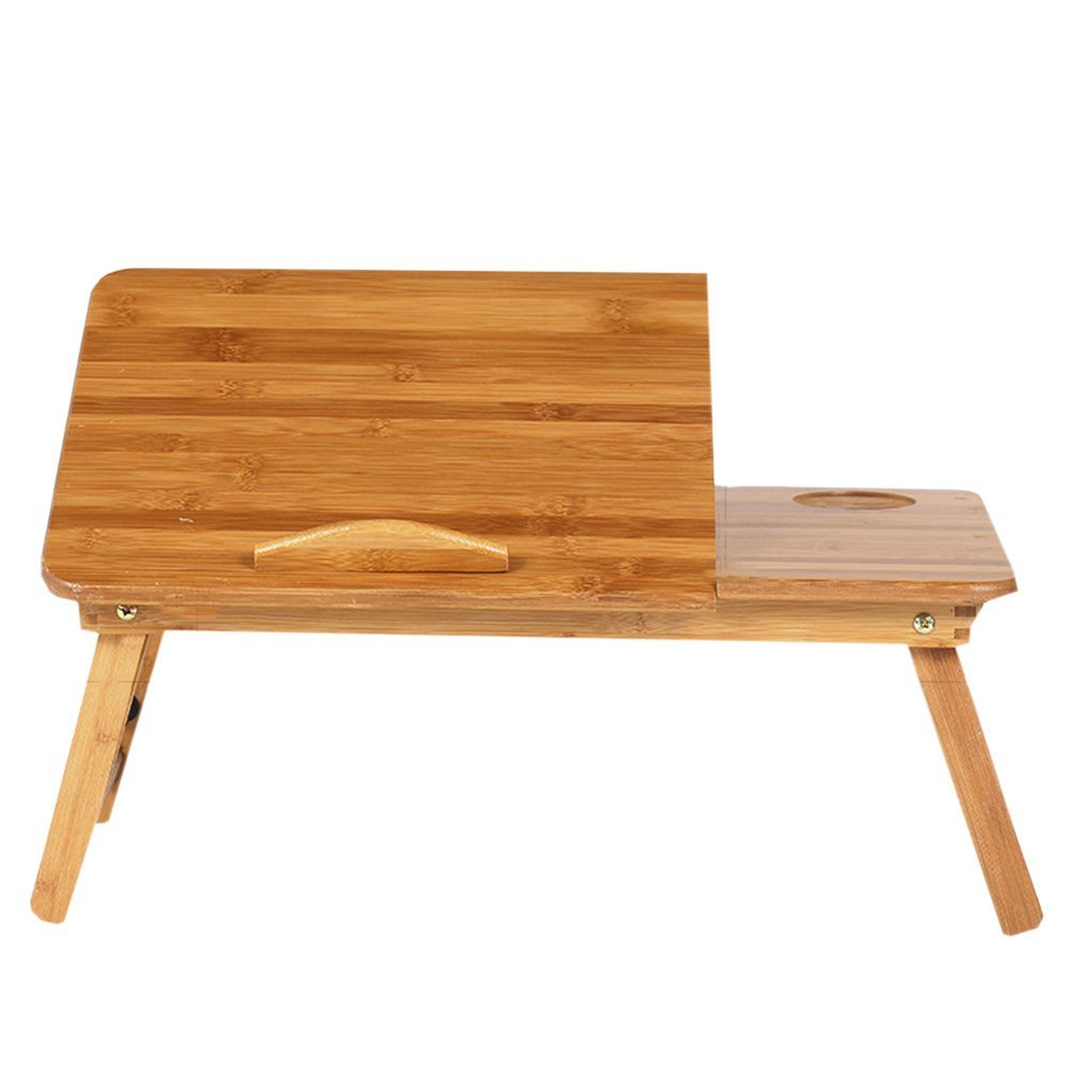 LQQGXL Storage and organization Laptop desk can be folded lazy learning desk cooling wooden computer tray bracket (Color : L)