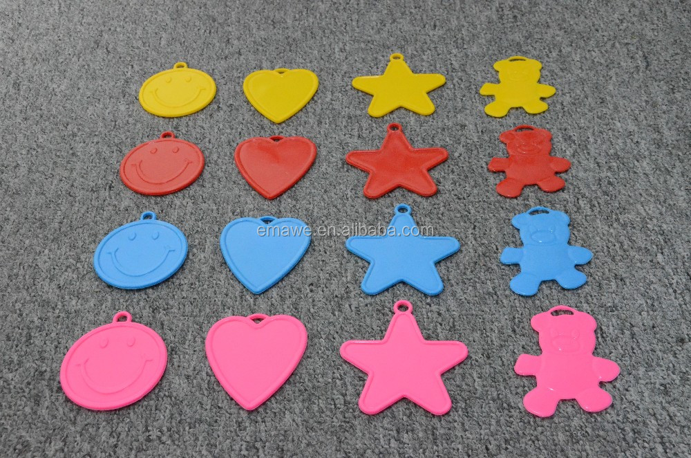 plastic balloon weights, star, heart, smiling face, bear shaped balloon weight
