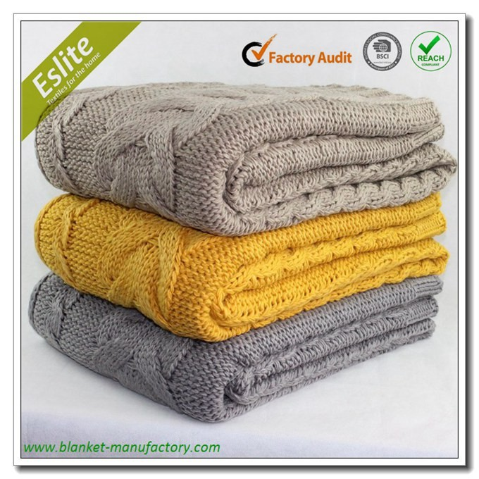 Acrylic Chunky Cable Knit Throw Manufacturer