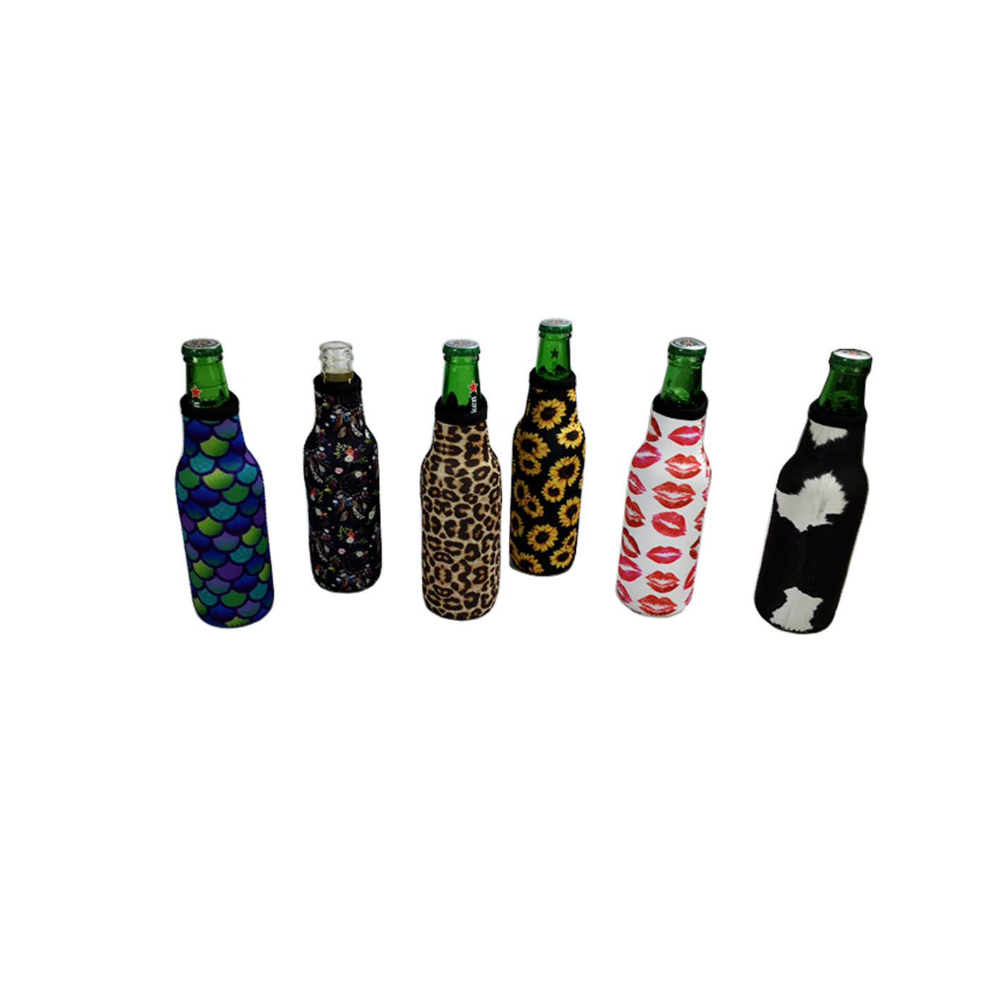 Hot Sale Botol Bir Cooler Holder Cow Hide Bunga Matahari Leopard Botol Bir Koozies