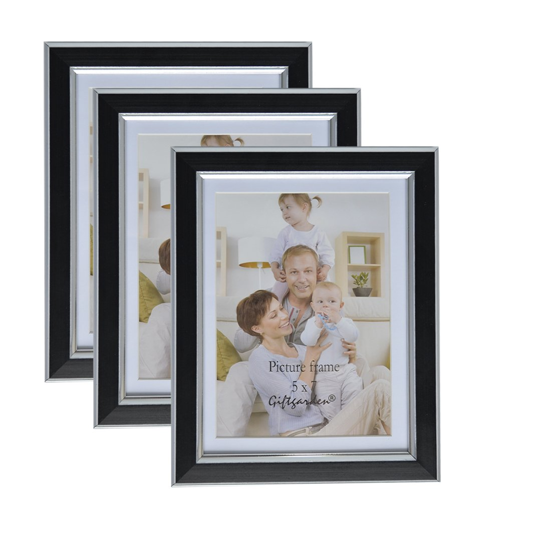 Giftgarden 5x7 Picture Frames Wall, Display 5x7 Photo Mat 6x8 without Mat, Black, Set of 3 pcs