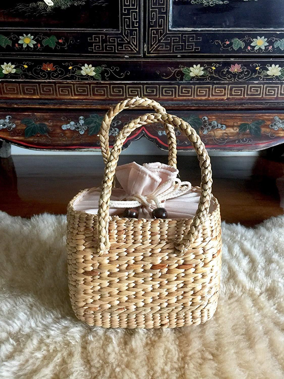 InfinityLoveCo Mini Handwoven Straw Bag,Straw Bag,Small Straw Basket Bag,Straw Basket Handbag,Straw Tote Purse,Mini Straw Tote Bag,Straw Picnic Basket Purse
