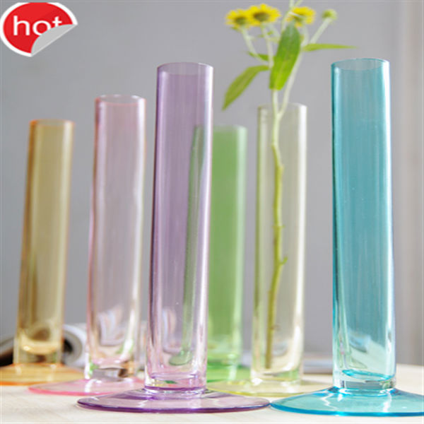 colorful unique tube shape glass flower vases wholesale glass vase for decorate home and wedding deco