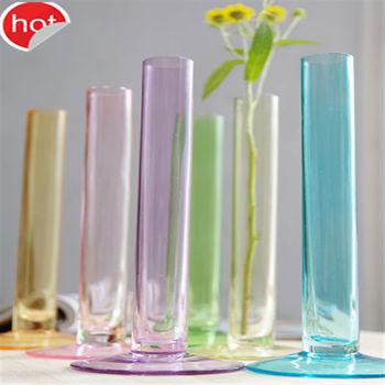Colorful Unique Tube Shape Glass Flower Vases Wholesale Glass Vase