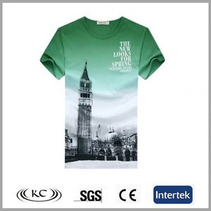 stylish high quality 100% cotton green men graphic tees
