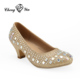 Beautiful Gold Kids Fashion Half High Heel Shoes for girls princess