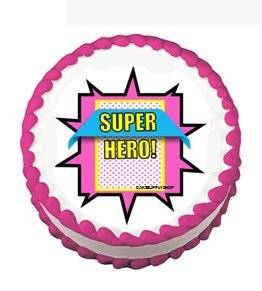 CakeSupplyShop Item#24520 Girl's Super Hero Pink Theme Edible Cake Decoration Topper