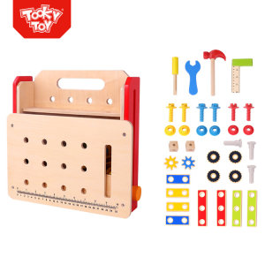 Intelligent diy Foldable Workbench wooden kids tool box kit set tool toy