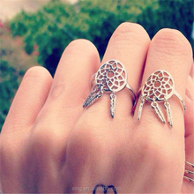 Net Tassel Ring 925 sterling silver Dreamcatcher Ring Korean Split handcraft Specific all match Hollow Rings Fashion jewelry